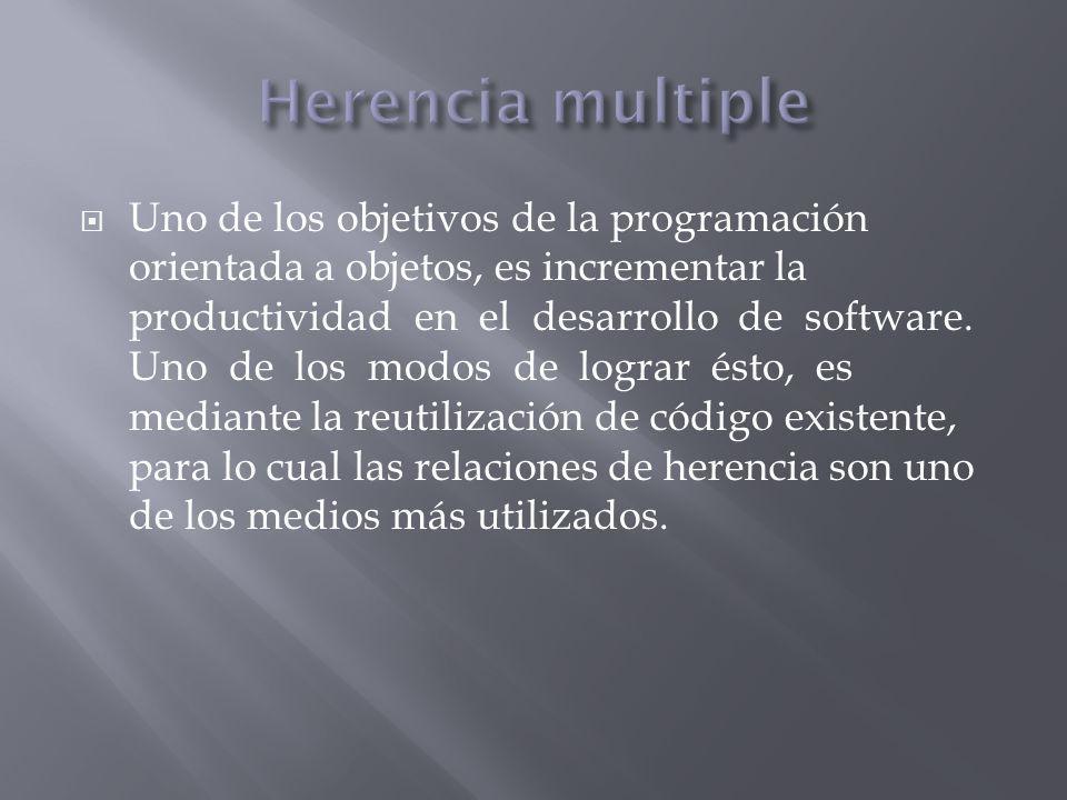 Uno de los objetivos de la programación orientada a objetos, es incrementar la productividad en el desarrollo de software. Uno de los modos de lograr