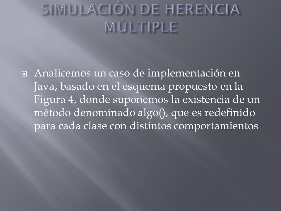 Analicemos un caso de implementación en Java, basado en el esquema propuesto en la Figura 4, donde suponemos la existencia de un método denominado alg