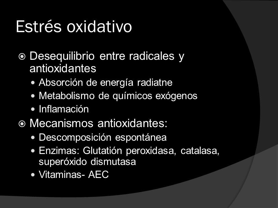 Estrés oxidativo Desequilibrio entre radicales y antioxidantes Absorción de energía radiatne Metabolismo de químicos exógenos Inflamación Mecanismos a