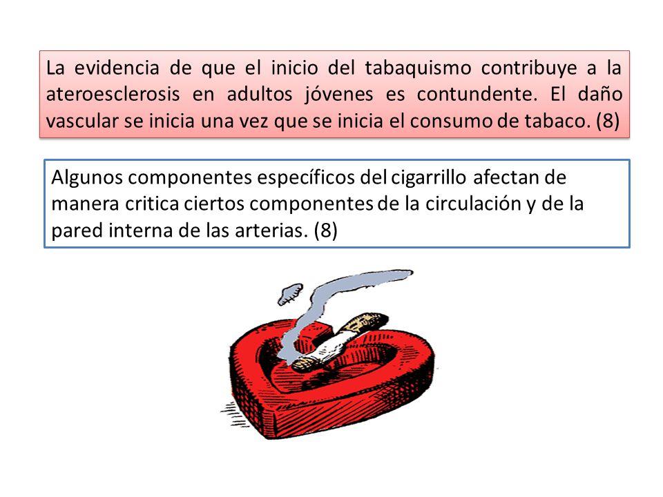 La evidencia de que el inicio del tabaquismo contribuye a la ateroesclerosis en adultos jóvenes es contundente. El daño vascular se inicia una vez que