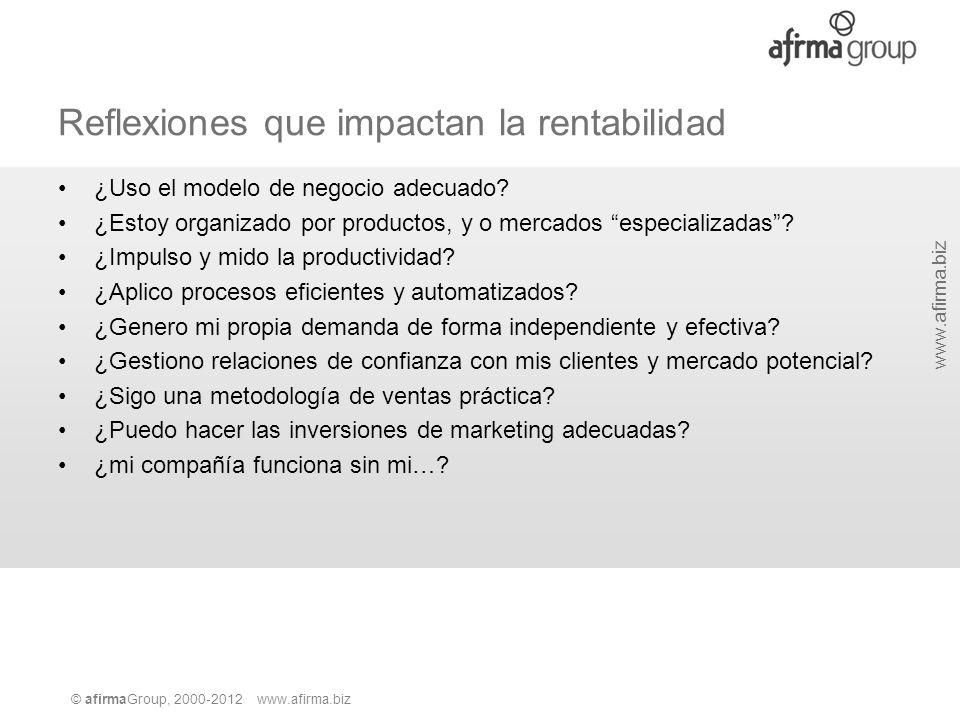 © afirmaGroup, 2000-2012 www.afirma.biz www.afirma.biz Reflexiones que impactan la rentabilidad ¿Uso el modelo de negocio adecuado? ¿Estoy organizado