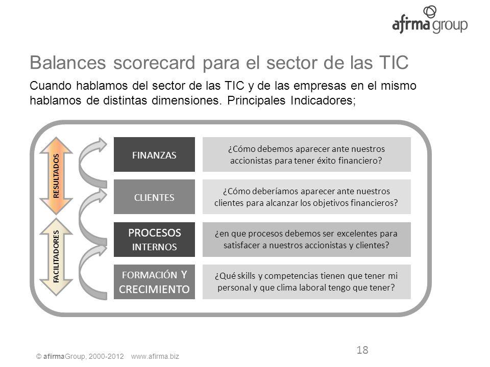 © afirmaGroup, 2000-2012 www.afirma.biz Balances scorecard para el sector de las TIC Cuando hablamos del sector de las TIC y de las empresas en el mis