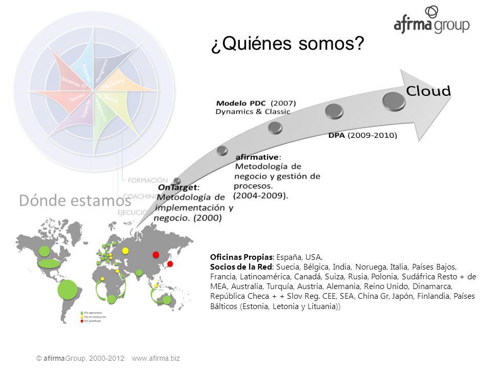 © afirmaGroup, 2000-2012 www.afirma.biz ¿Quiénes somos? Dónde estamos Oficinas Propias: España, USA. Socios de la Red: Suecia, Bélgica, India, Noruega
