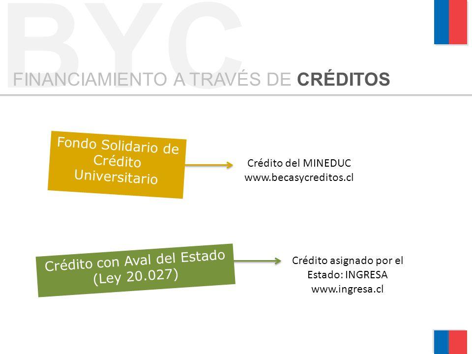 Crédito con Aval del Estado (Ley 20.027) Fondo Solidario de Crédito Universitario BYC FINANCIAMIENTO A TRAVÉS DE CRÉDITOS Crédito asignado por el Esta
