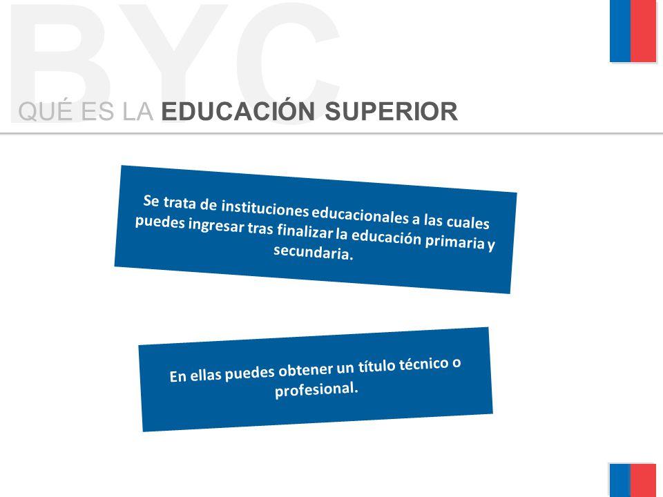Se trata de instituciones educacionales a las cuales puedes ingresar tras finalizar la educación primaria y secundaria. BYC QUÉ ES LA EDUCACIÓN SUPERI