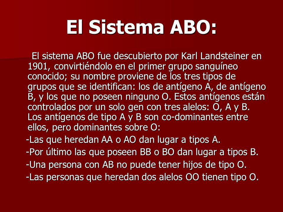 El Sistema ABO: El sistema ABO fue descubierto por Karl Landsteiner en 1901, convirtiéndolo en el primer grupo sanguíneo conocido; su nombre proviene