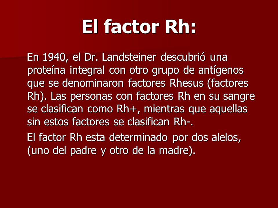 El factor Rh: En 1940, el Dr. Landsteiner descubrió una proteína integral con otro grupo de antígenos que se denominaron factores Rhesus (factores Rh)
