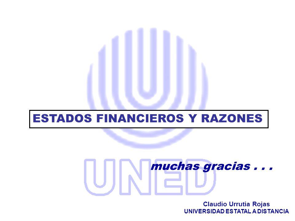 muchas gracias... Claudio Urrutia Rojas UNIVERSIDAD ESTATAL A DISTANCIA ESTADOS FINANCIEROS Y RAZONES