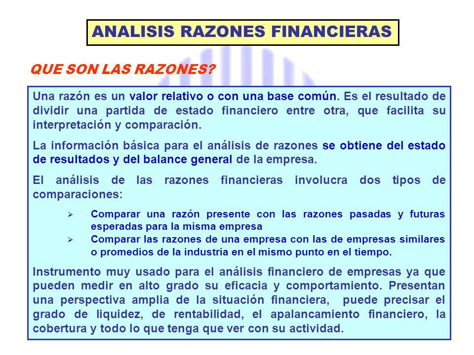 ANALISIS RAZONES FINANCIERAS Una razón es un valor relativo o con una base común. Es el resultado de dividir una partida de estado financiero entre ot
