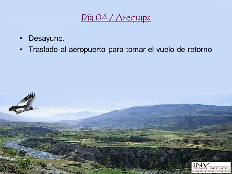 Día 04 / Arequipa Desayuno. Traslado al aeropuerto para tomar el vuelo de retorno