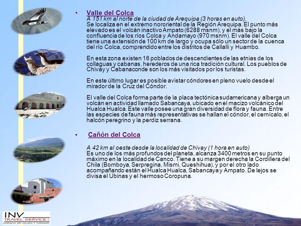 Valle del Colca A 151 km al norte de la ciudad de Arequipa (3 horas en auto).