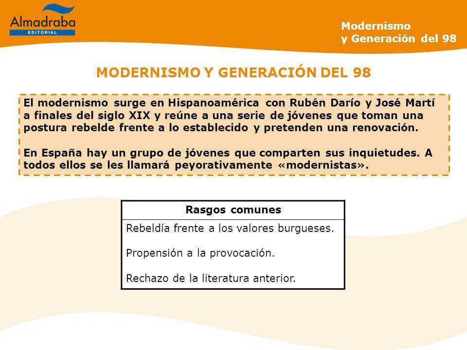 MODERNISMO Y GENERACIÓN DEL 98 El modernismo surge en Hispanoamérica con Rubén Darío y José Martí a finales del siglo XIX y reúne a una serie de jóvenes que toman una postura rebelde frente a lo establecido y pretenden una renovación.