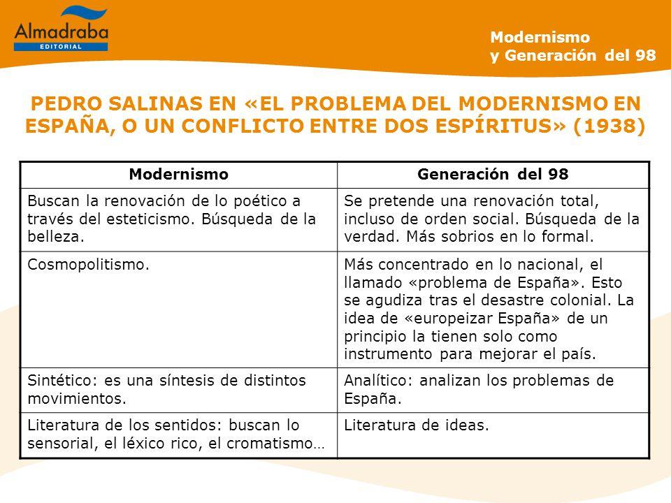 PEDRO SALINAS EN «EL PROBLEMA DEL MODERNISMO EN ESPAÑA, O UN CONFLICTO ENTRE DOS ESPÍRITUS» (1938) ModernismoGeneración del 98 Buscan la renovación de lo poético a través del esteticismo.