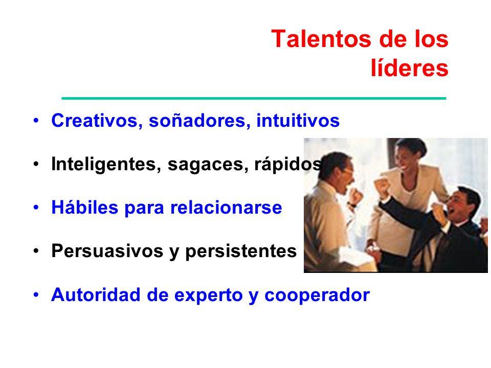 Talentos de los líderes Creativos, soñadores, intuitivos Inteligentes, sagaces, rápidos Hábiles para relacionarse Persuasivos y persistentes Autoridad