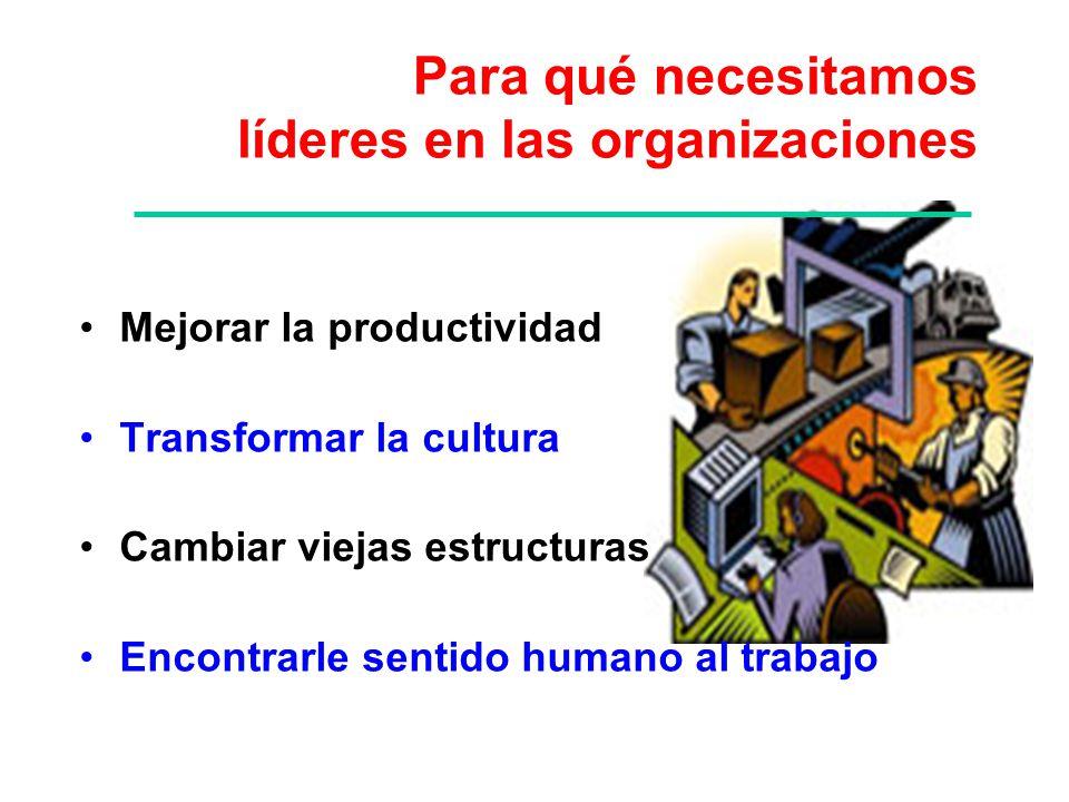 Para qué necesitamos líderes en las organizaciones Mejorar la productividad Transformar la cultura Cambiar viejas estructuras Encontrarle sentido huma