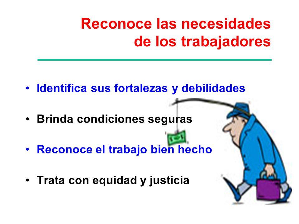 Identifica sus fortalezas y debilidades Brinda condiciones seguras Reconoce el trabajo bien hecho Trata con equidad y justicia Reconoce las necesidade