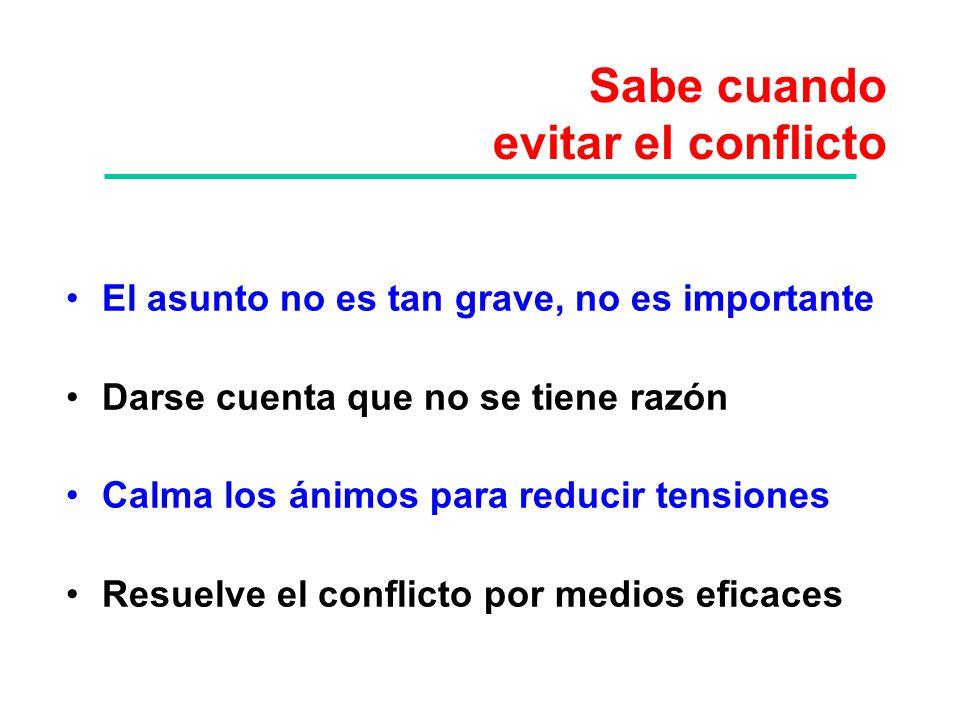 Sabe cuando evitar el conflicto El asunto no es tan grave, no es importante Darse cuenta que no se tiene razón Calma los ánimos para reducir tensiones