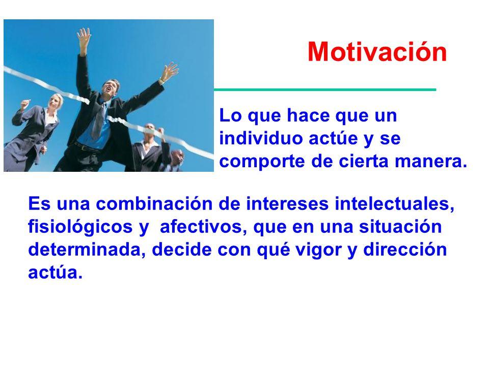 Motivación Lo que hace que un individuo actúe y se comporte de cierta manera. Es una combinación de intereses intelectuales, fisiológicos y afectivos,