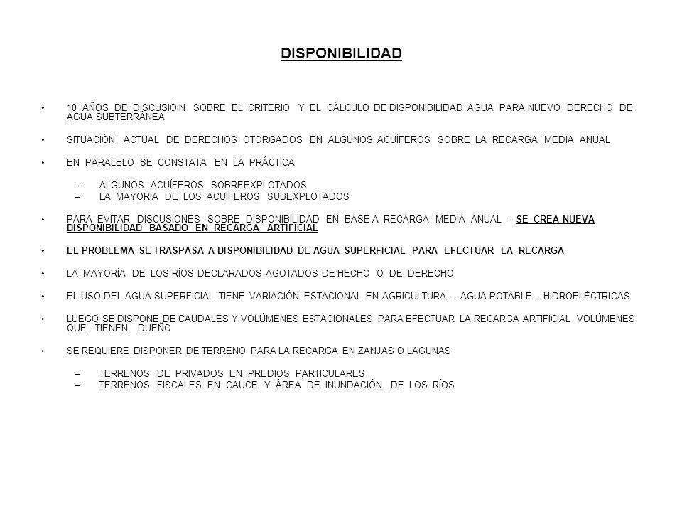 EMBALSES SUBTERRÁNEOS EN CHILE EXISTE UNA IDENTIFICACIÓN DE LA MAYORÍA DE LOS EMBALSES SUBTERRÁNEOS DE CARÁCTER ALUVIAL - SE DISPONE DE REDES DE MONITOREO DE NIVELES ESTÁTICOS - SE PUEDE DETERMINAR EL VOLUMEN DISPONIBLE PARA INFILTRACIÓN EN CADA EMBALSE SUBTERRÁNEO SE CONOCE LA CALIDAD QUÍMICA DE LAS AGUAS SUPERFICIALES Y SUBTERRÁNEAS - SE CONOCE LA PERMEABILIDAD DE LOS SUELOS Y TRANSMISIBILIDAD DEL ACUÍFERO EMPLEO DE LOS EXCEDENTES SUPERFICIALES SIN USO ESTACIONAL PRINCIPAL FUENTE DE RECURSO DE AGUA PARA INFILTRAR - DERECHOS EVENTUALES DE AGUA SUPERFICIAL ES OTRA FUENTE IMPORTANTE DE AGUA DISPONIBLE PARA INFILTRAR