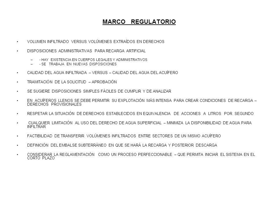MARCO REGULATORIO VOLUMEN INFILTRADO VERSUS VOLÚMENES EXTRAÍDOS EN DERECHOS DISPOSICIONES ADMINISTRATIVAS PARA RECARGA ARTIFICIAL –- HAY EXISTENCIA EN
