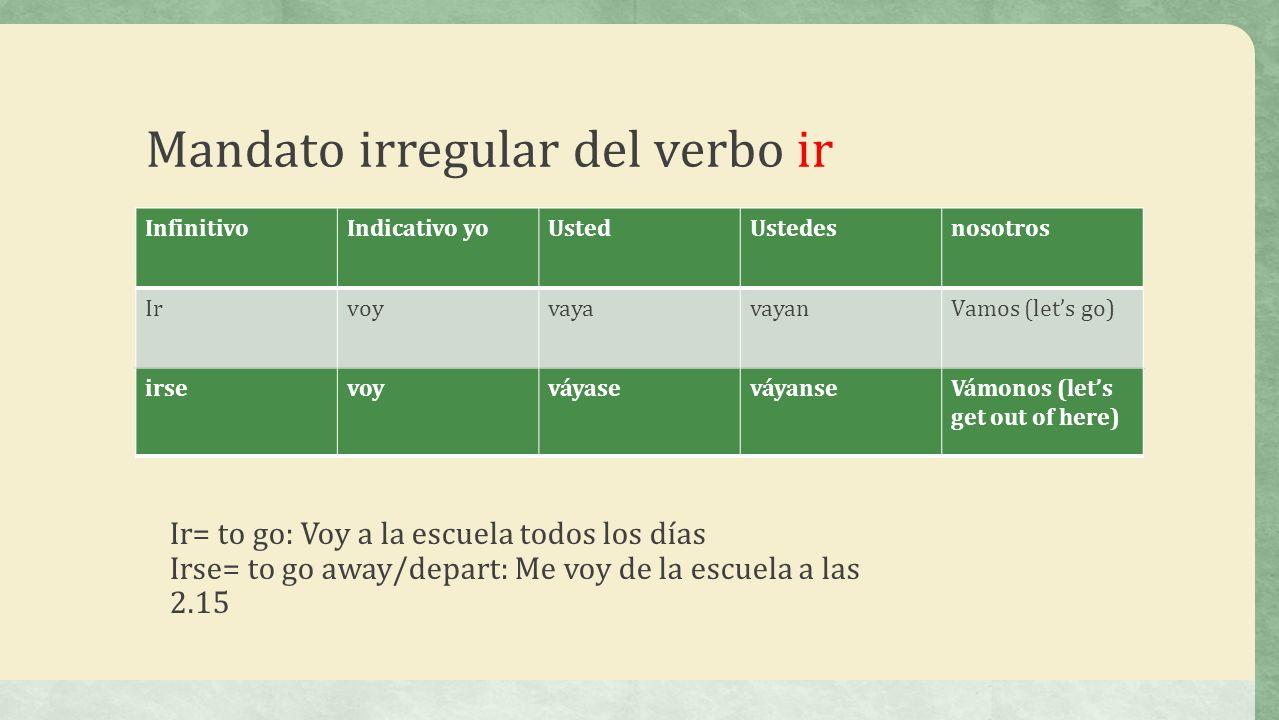 Mandato irregular del verbo ir InfinitivoIndicativo yoUstedUstedesnosotros IrvoyvayavayanVamos (lets go) irsevoyváyaseváyanseVámonos (lets get out of