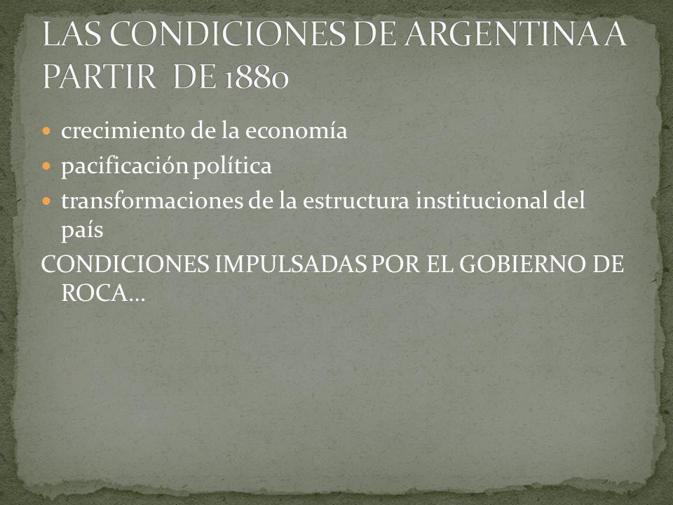 crecimiento de la economía pacificación política transformaciones de la estructura institucional del país CONDICIONES IMPULSADAS POR EL GOBIERNO DE ROCA…