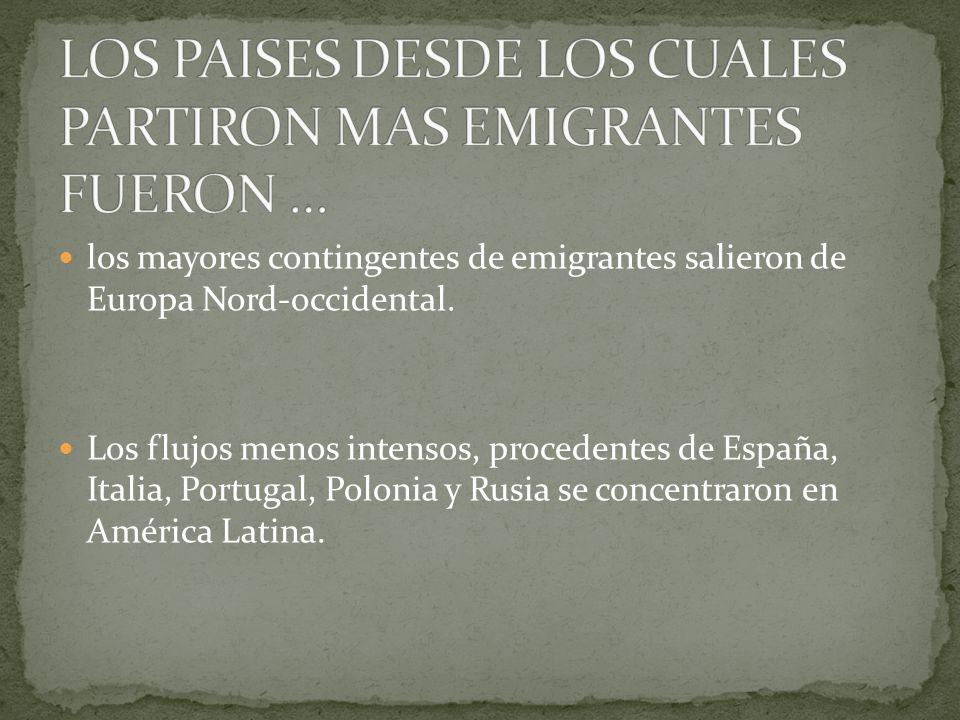 los mayores contingentes de emigrantes salieron de Europa Nord-occidental.