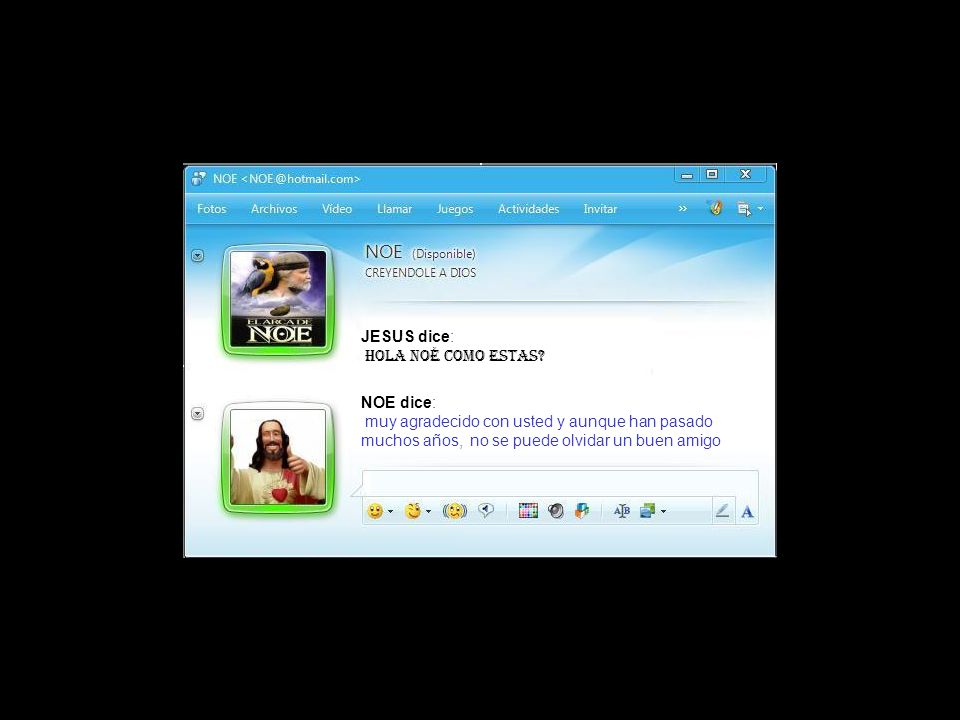 JESUS dice: bueno, seguiremos hablando dentro de un rato, porque con Noe ….