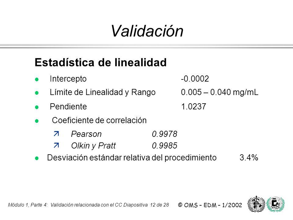 Módulo 1, Parte 4: Validación relacionada con el CC Diapositiva 12 de 28 © OMS – EDM – 1/2002 Estadística de linealidad l Intercepto -0.0002 l Límite