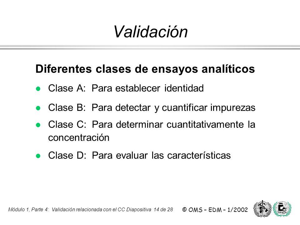 Módulo 1, Parte 4: Validación relacionada con el CC Diapositiva 14 de 28 © OMS – EDM – 1/2002 Diferentes clases de ensayos analíticos l Clase A: Para