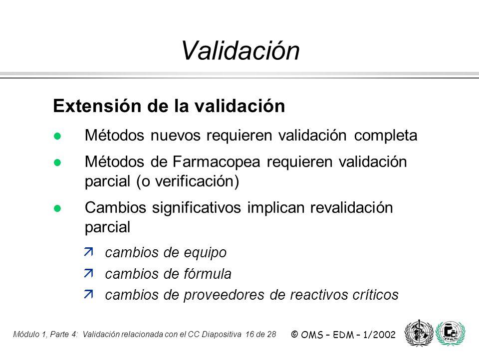 Módulo 1, Parte 4: Validación relacionada con el CC Diapositiva 16 de 28 © OMS – EDM – 1/2002 Extensión de la validación l l Métodos nuevos requieren