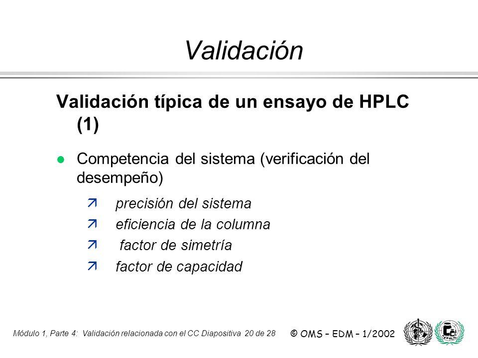 Módulo 1, Parte 4: Validación relacionada con el CC Diapositiva 20 de 28 © OMS – EDM – 1/2002 Validación Validación típica de un ensayo de HPLC (1) l