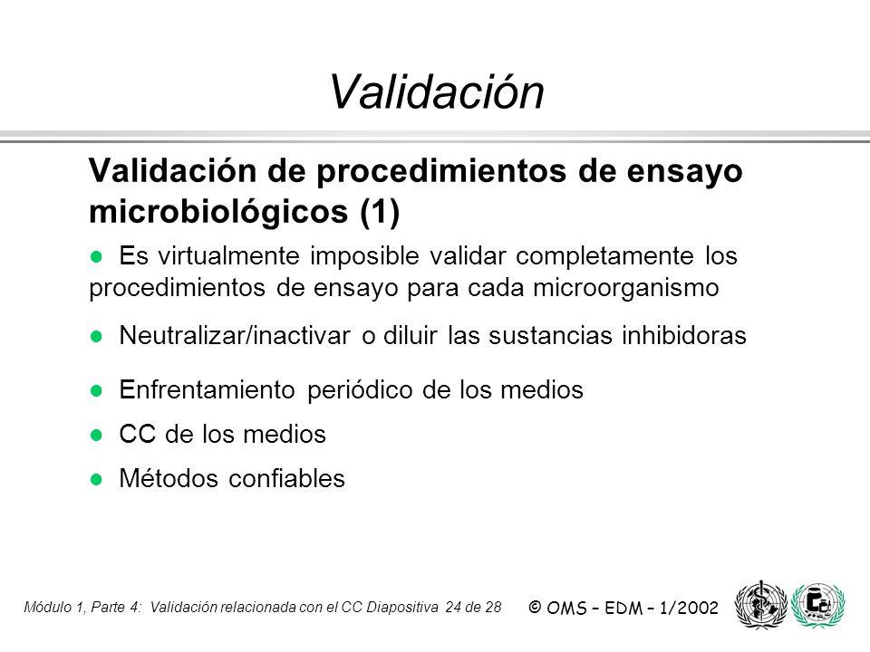Módulo 1, Parte 4: Validación relacionada con el CC Diapositiva 24 de 28 © OMS – EDM – 1/2002 Validación de procedimientos de ensayo microbiológicos (