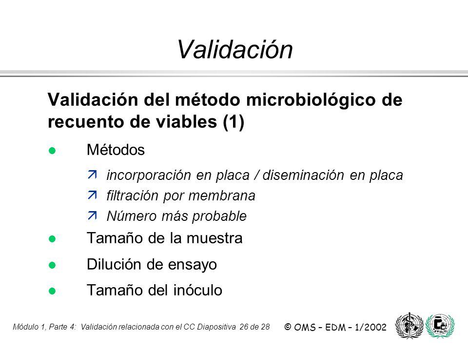 Módulo 1, Parte 4: Validación relacionada con el CC Diapositiva 26 de 28 © OMS – EDM – 1/2002 Validación del método microbiológico de recuento de viab