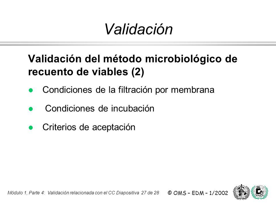 Módulo 1, Parte 4: Validación relacionada con el CC Diapositiva 27 de 28 © OMS – EDM – 1/2002 Validación del método microbiológico de recuento de viab