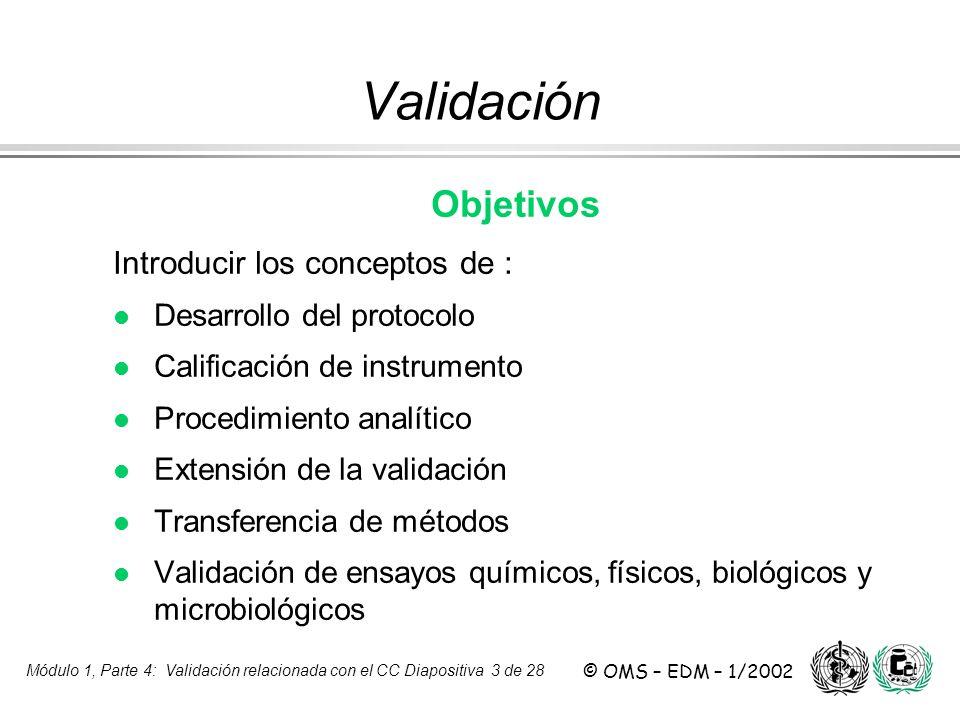 Módulo 1, Parte 4: Validación relacionada con el CC Diapositiva 3 de 28 © OMS – EDM – 1/2002 Validación Objetivos Introducir los conceptos de : l Desa