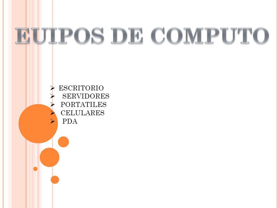 ESCRITORIO SERVIDORES PORTATILES CELULARES PDA
