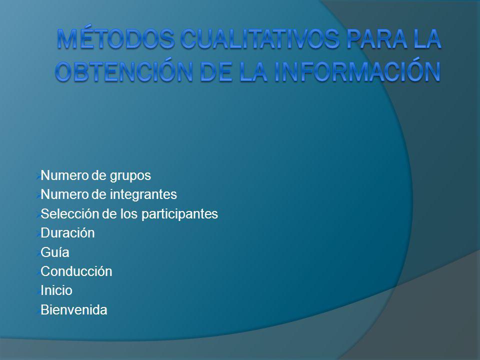 Numero de grupos Numero de integrantes Selección de los participantes Duración Guía Conducción Inicio Bienvenida