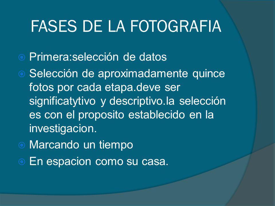 FASES DE LA FOTOGRAFIA Primera:selección de datos Selección de aproximadamente quince fotos por cada etapa.deve ser significatytivo y descriptivo.la s
