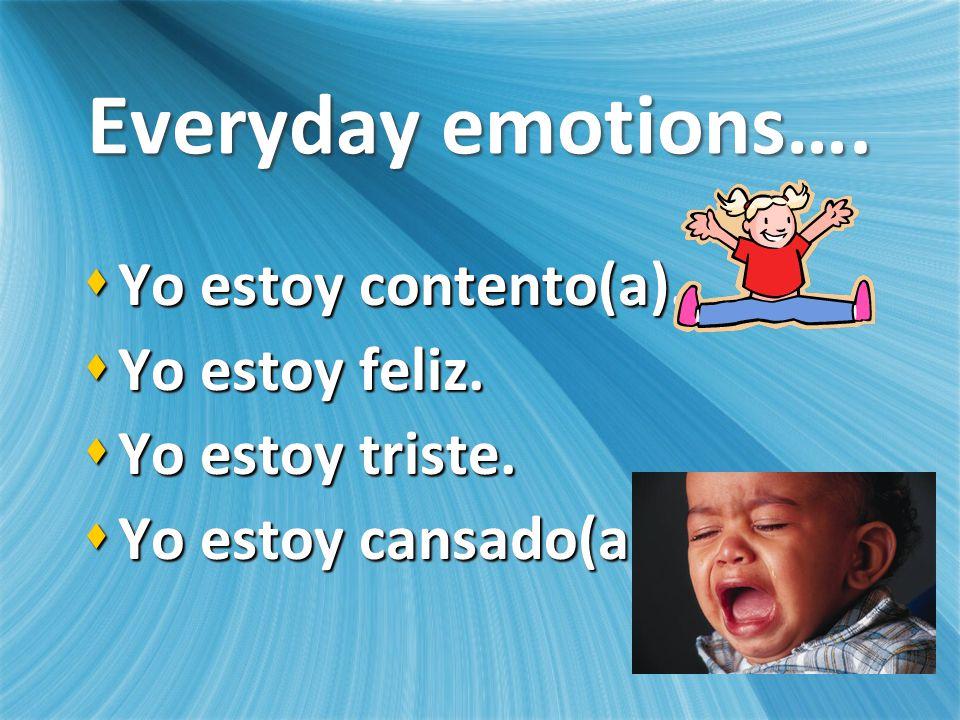 Everyday emotions…. Yo estoy contento(a). Yo estoy contento(a).