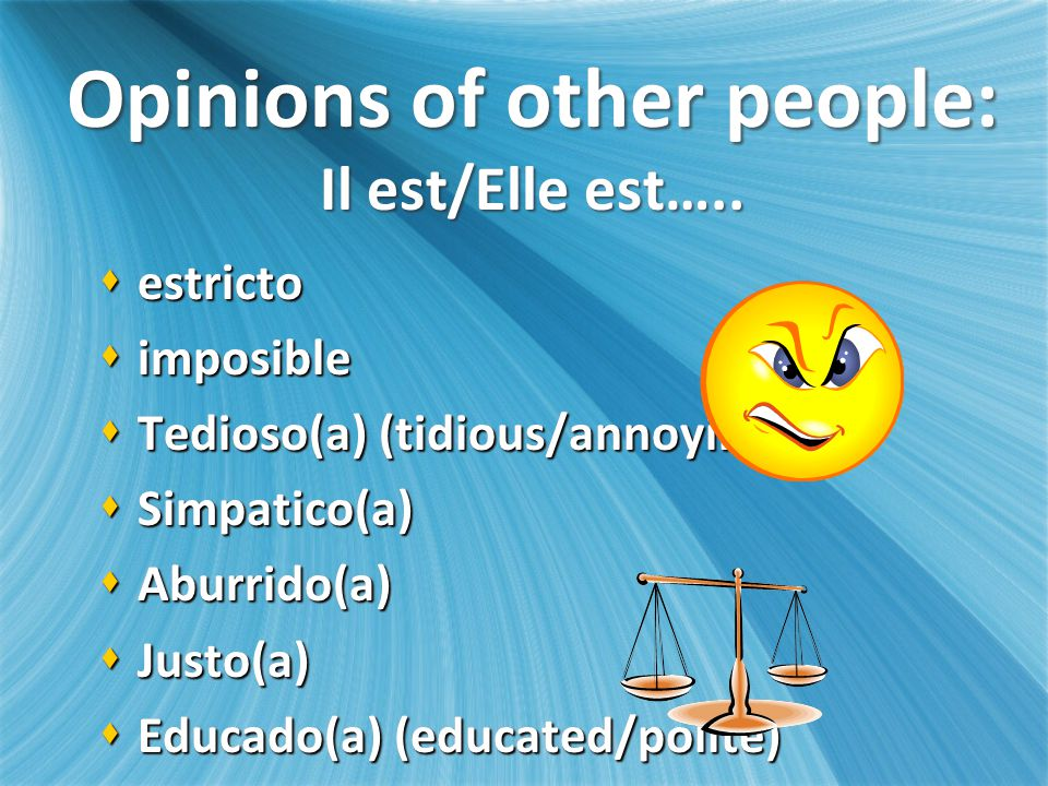 Opinions of other people: Il est/Elle est…..