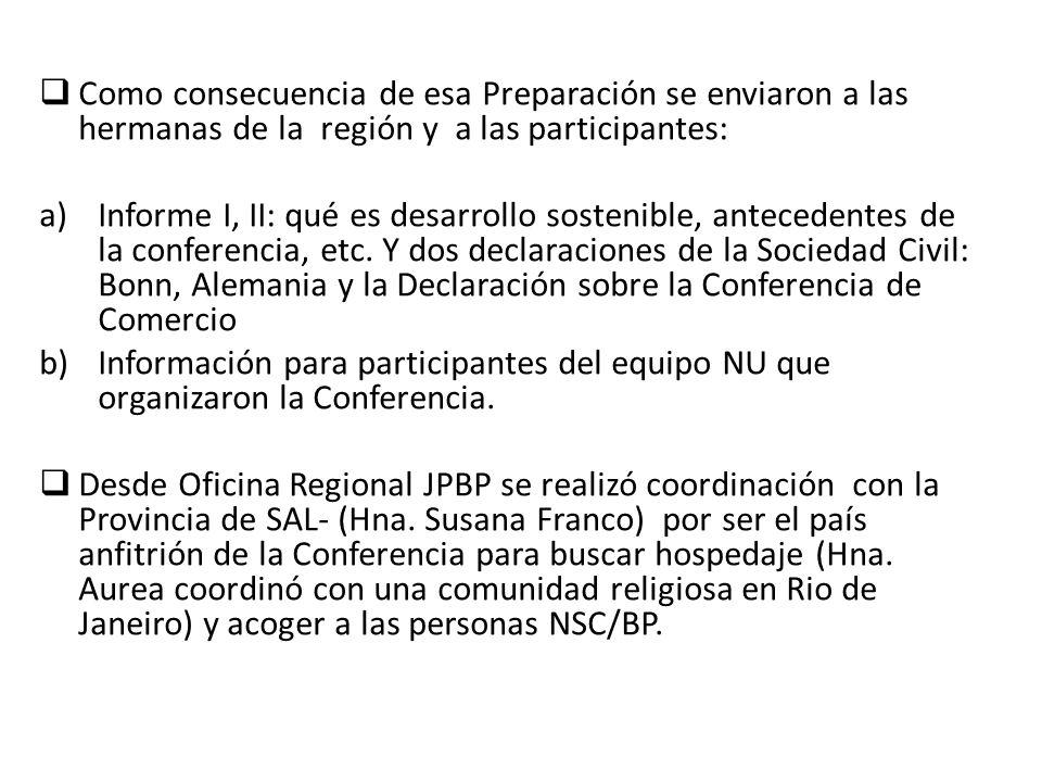 Como consecuencia de esa Preparación se enviaron a las hermanas de la región y a las participantes: a)Informe I, II: qué es desarrollo sostenible, antecedentes de la conferencia, etc.