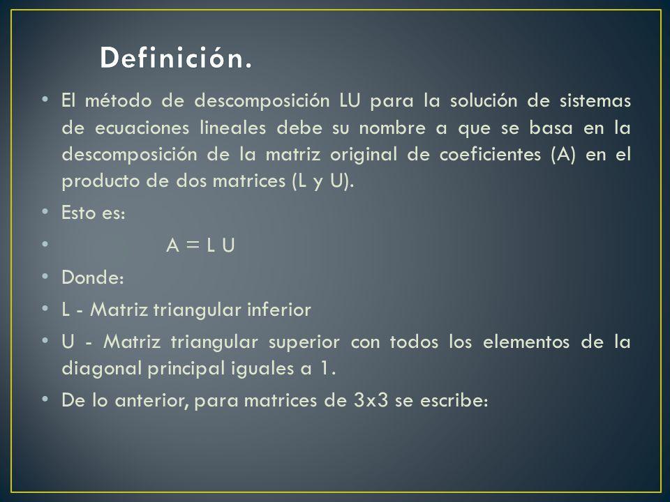 El método de descomposición LU para la solución de sistemas de ecuaciones lineales debe su nombre a que se basa en la descomposición de la matriz orig