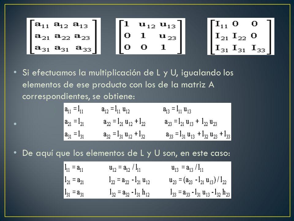 Si efectuamos la multiplicación de L y U, igualando los elementos de ese producto con los de la matriz A correspondientes, se obtiene: De aquí que los