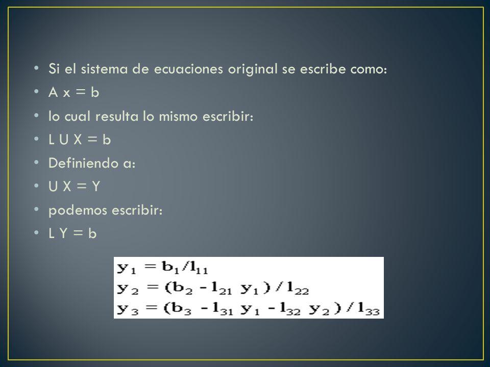 Si el sistema de ecuaciones original se escribe como: A x = b lo cual resulta lo mismo escribir: L U X = b Definiendo a: U X = Y podemos escribir: L Y