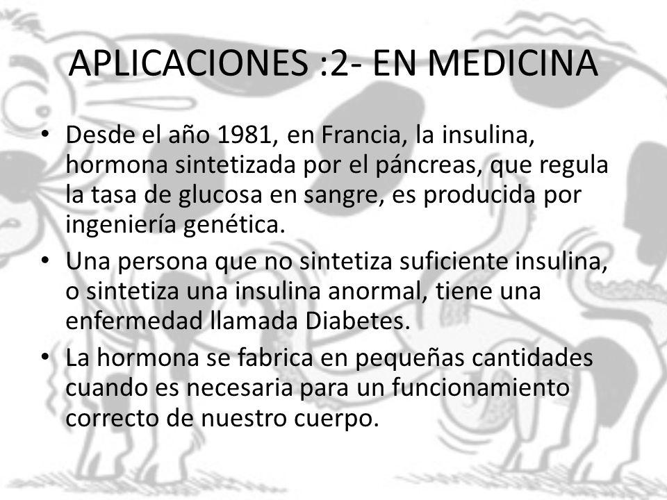APLICACIONES :2- EN MEDICINA Desde el año 1981, en Francia, la insulina, hormona sintetizada por el páncreas, que regula la tasa de glucosa en sangre,