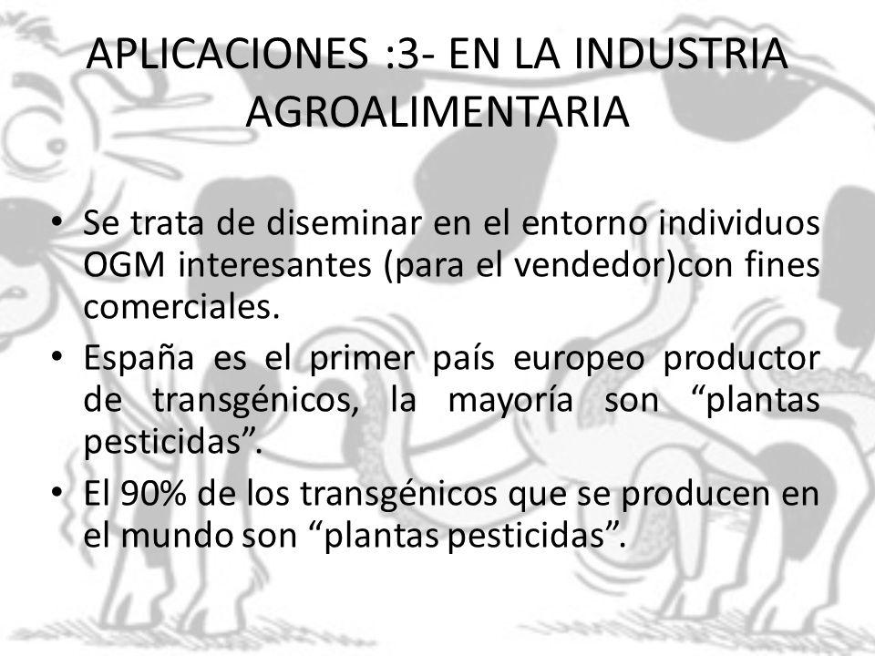 APLICACIONES :3- EN LA INDUSTRIA AGROALIMENTARIA Se trata de diseminar en el entorno individuos OGM interesantes (para el vendedor)con fines comercial