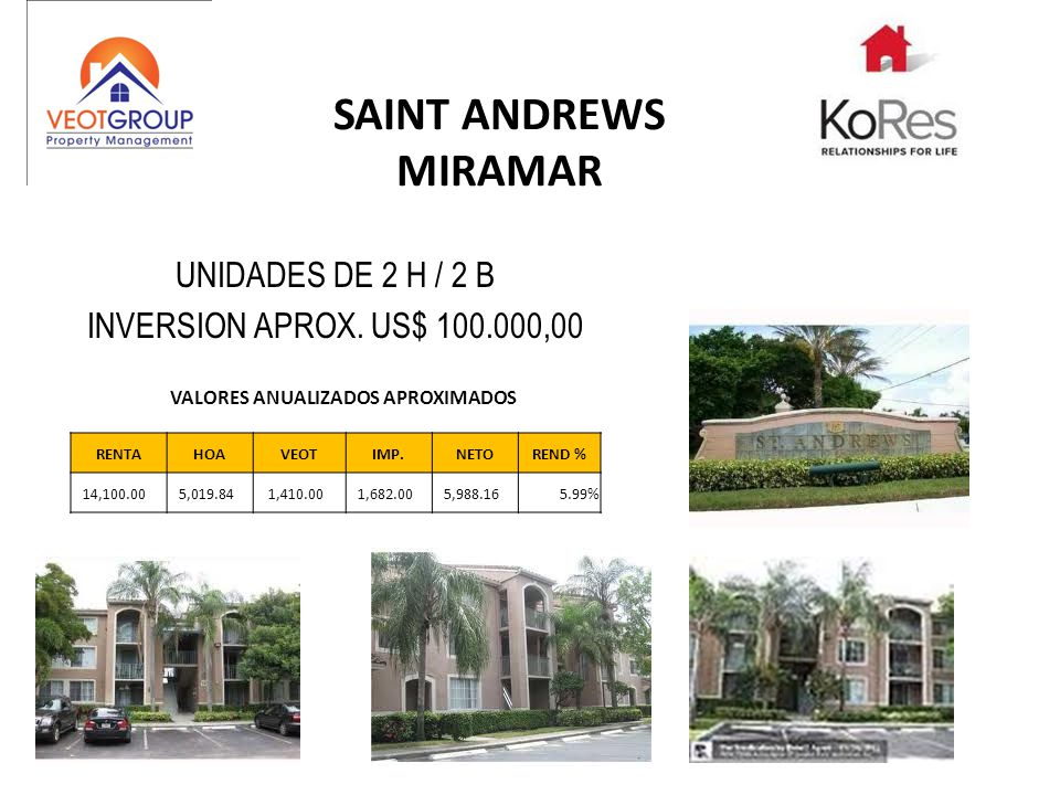 SAINT ANDREWS MIRAMAR UNIDADES DE 2 H / 2 B INVERSION APROX.