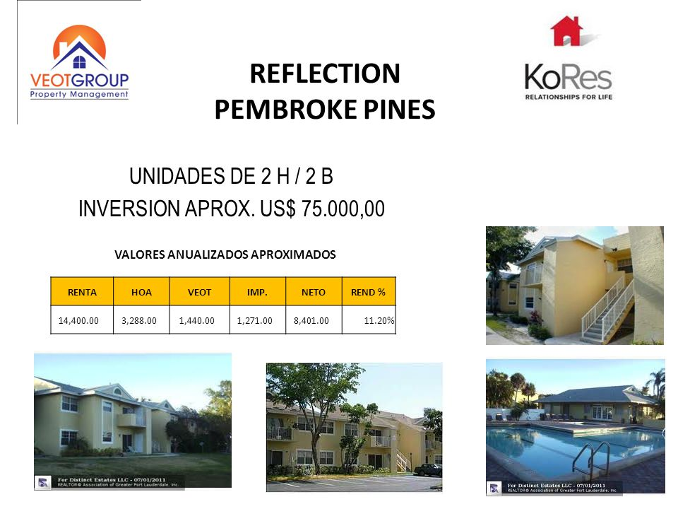 REFLECTION PEMBROKE PINES UNIDADES DE 2 H / 2 B INVERSION APROX. US$ 75.000,00 RENTAHOAVEOTIMP.NETOREND % 14,400.00 3,288.00 1,440.00 1,271.00 8,401.0