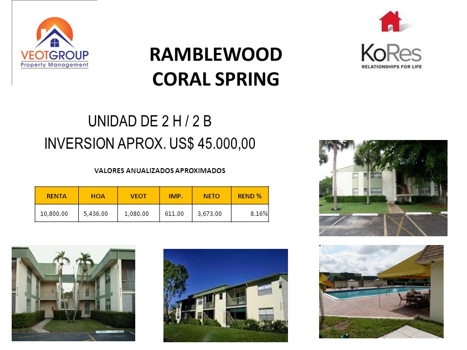 RAMBLEWOOD CORAL SPRING UNIDAD DE 2 H / 2 B INVERSION APROX. US$ 45.000,00 RENTAHOAVEOTIMP.NETOREND % 10,800.00 5,436.00 1,080.00 611.00 3,673.008.16%
